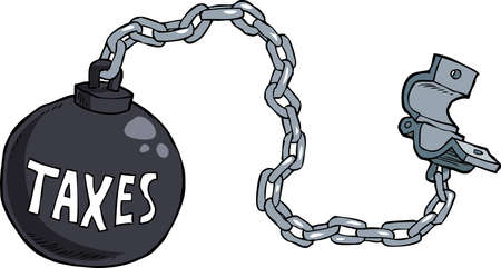slavery: Tax shackles on white background vector illustration