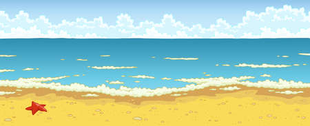 sunshine background: Landscape of sea beach cartoon background vector Illustration