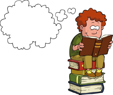 Boy reading on a stack of books vector illustration