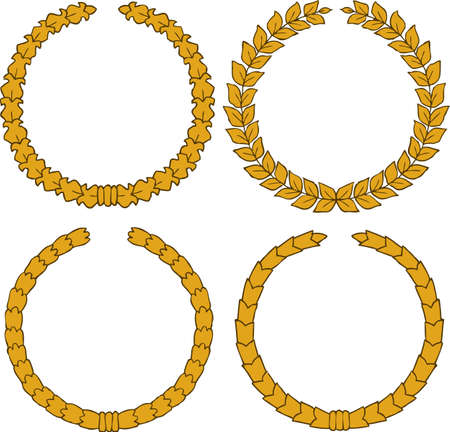 the bay: Four yellow wreath on a white background vector ilustration