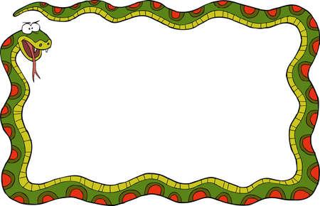 long tongue: Frame of the snake on a white background vector illustration Illustration
