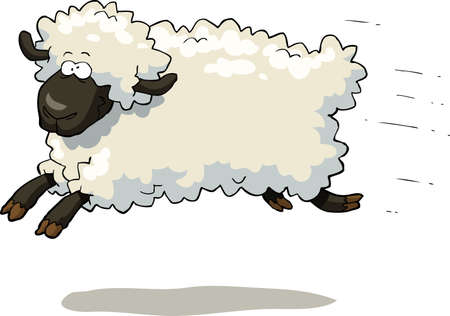 sheep farm: Galloping sheep on a white background vector illustration