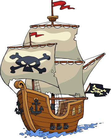 calavera pirata: Barco pirata en el fondo blanco ilustraci�n vectorial
