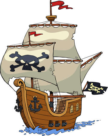 Pirate ship on white background vector illustration Çizim