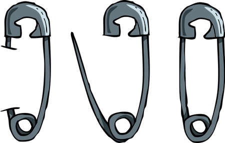 iron fun: Safety pins on a white background vector illustration