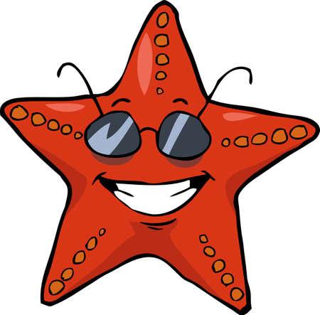 seafish: Cartoon starfish in sunglasses smiling vector illustration