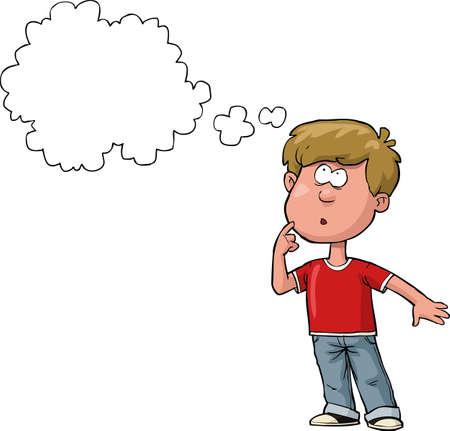 preguntando: El chico está pensando en un fondo blanco ilustración vectorial Vectores