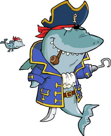shark cartoon: Tiburón del pirata en un fondo blanco ilustración vectorial Vectores
