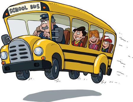 hombre manejando: De autobús escolar en blanco ilustración de fondo de vectores