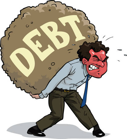burden: The man is carrying a debt vector illustration
