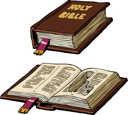hiding: Bible with a hiding place for a pistol vector illustration Illustration