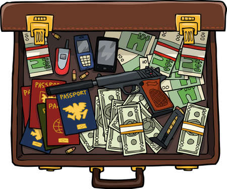 money cartoon: Spy suitcase with a gun, money and passports vector illustration