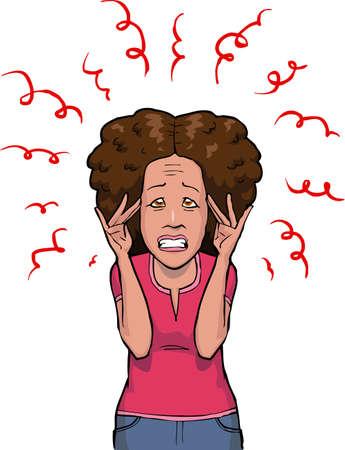 estrés: Mujer en el estrés en el fondo blanco ilustración vectorial Vectores