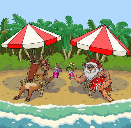 Santa Claus and reindeer Rudolph on a tropical island vector illustration