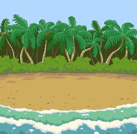 seasons cartoon: Tropical beach with palm trees vector illustration