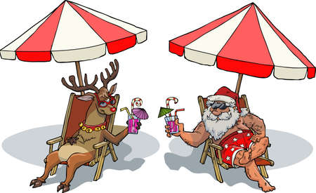 Santa Claus and reindeer sunbathe vector illustration