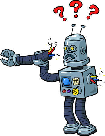 broken arm: Cartoon robot with a broken arm vector illustration