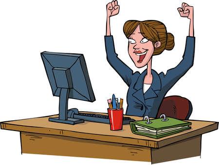 Biznes kobieta cieszy się komputerowo ilustracji wektorowych
