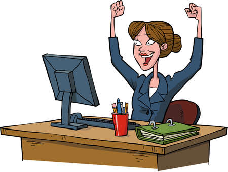 trabajando en computadora: Mujer de negocios que goza en una ilustración vectorial de ordenador