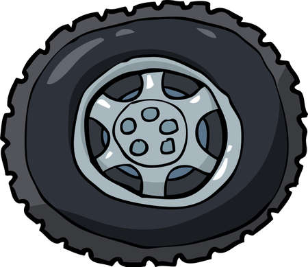 tire imprint: Cartoon car wheel and tire vector illustration Illustration