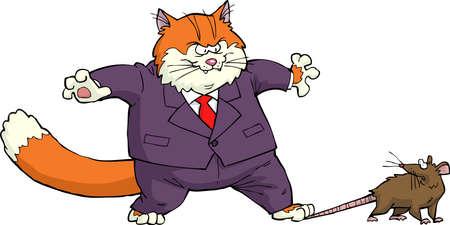 rata caricatura: Gato de la historieta llam� la ilustraci�n del vector del rat�n