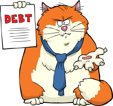 Cartoon cat requires debt repayment vector illustration