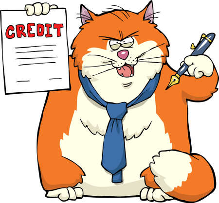 reckoning: Cat persuaded to sign a loan agreement vector illustration