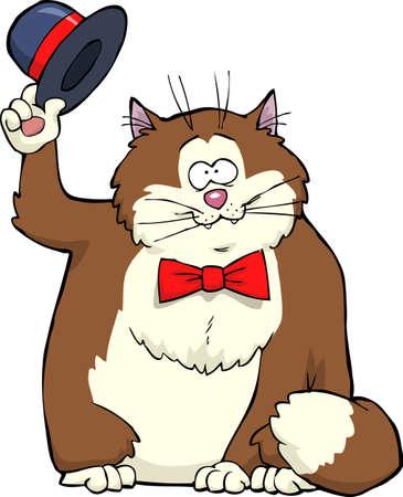 gordos: Gato de dibujos animados se quita el sombrero de ilustración vectorial