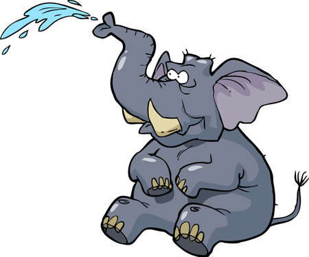 Cartoon elephant squirting water on a white background vector illustration