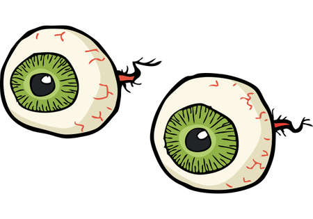 cartoon ball: Cartoon doodle eyes on a white background vector illustration