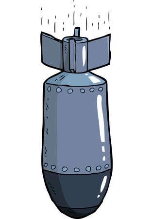 Cartoon Bombe fallen auf einem weißen Hintergrund Vektor-Illustration