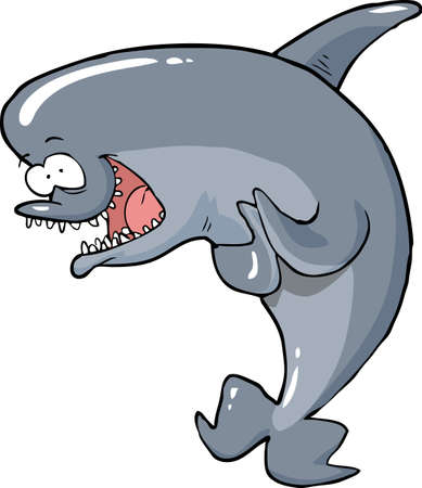 funny cartoon: Cartoon funny dolphin on a white background vector illustration