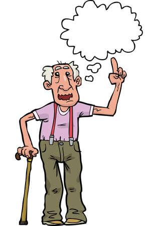 Cartoon dziadek mówi na białym tle ilustracji wektorowych