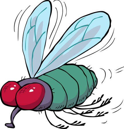 Cartoon doodle green fly on a white background vector illustration Vector Illustration