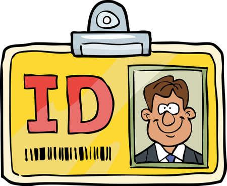 Ejemplo de la tarjeta de identificación del vector del doodle Identificación del dibujo animado
