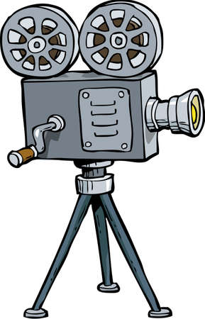 video camera: Cartoon doodle old projector on a white background vector illustration