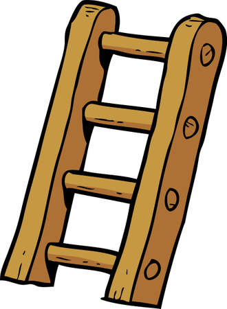 ladder: Cartoon doodle stairs on a white background vector illustration