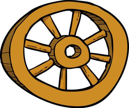 cartwheel: Cartoon wooden wheel doodle on a white background vector illustration