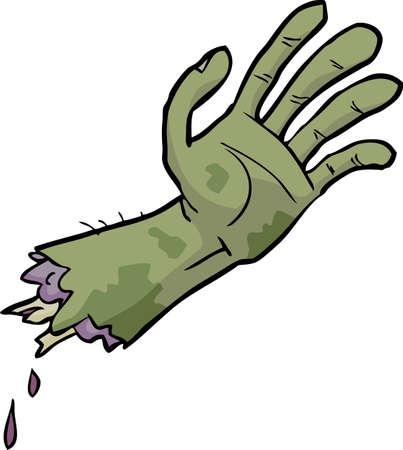 pus: Cartoon Doodle mano di zombie su uno sfondo bianco illustrazione vettoriale Vettoriali