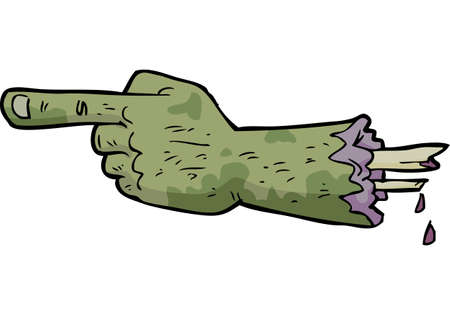 Cartoon doodle zombie hand points a finger vector illustration