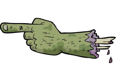 Cartoon doodle zombie hand points a finger vector illustration