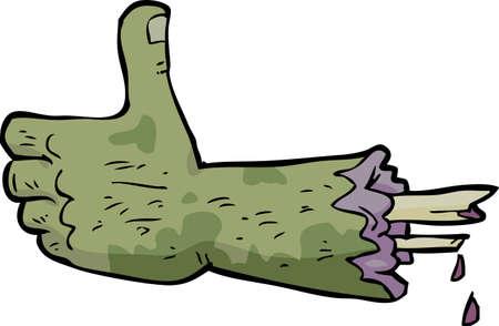 pus: Doodle del fumetto zombie mano pollice in alto illustrazione vettoriale