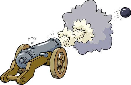 artillería de cañón de dibujos animados ilustración vectorial del núcleo disparado