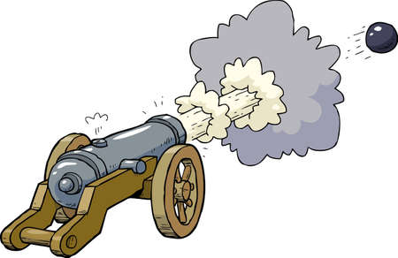 Cartoon artillery cannon shot kernel vector illustration