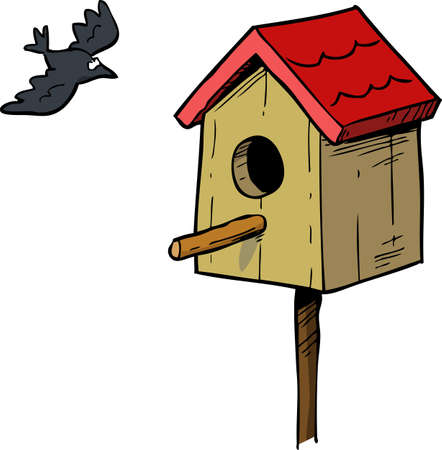 birdhouse: Cartoon doodle birdhouse and bird vector illustration Illustration