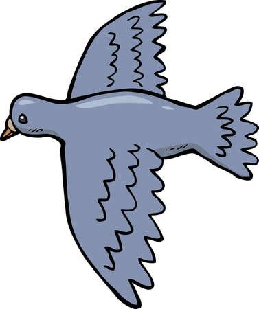 paloma caricatura: paloma bosquejo de dibujos animados en la ilustración vectorial de vuelo