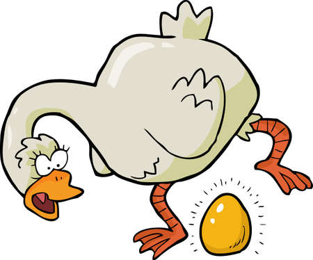gold eggs: Cartoon goose laid golden egg vector illustration