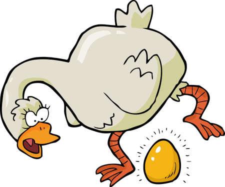 Cartoon goose laid golden egg vector illustration