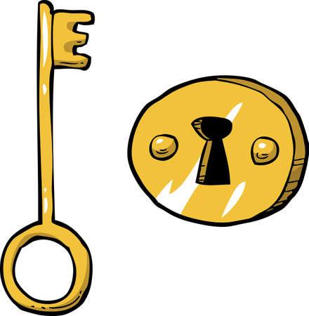 gold keyhole: Cartoon doodle key with keyhole vector illustration