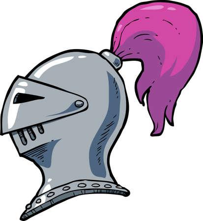 knight helmet: Cartoon doodle steel knight helmet vector illustration